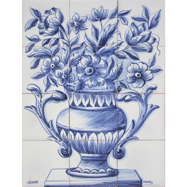 Portuguese tiles panel mural blue delft flowers vase ebay for Delft tile mural