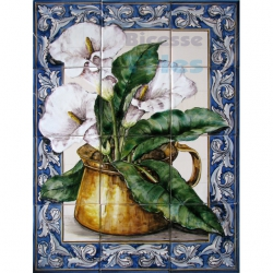 ASK 1568 Traditional Flowers Pot Tiles Panel