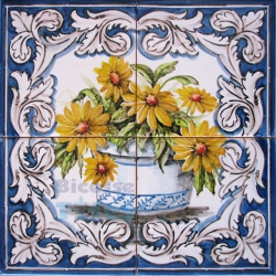 ASK 1577 Traditional Flowers Vase Tiles Panel