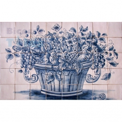ASK 1585 Traditional Flowers Vase Tiles Panel