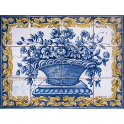 ASK 1589 Traditional Flowers Basket Tiles Panel
