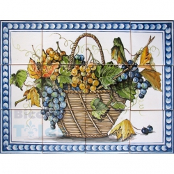 ASK 1593 Fruits Grapes Basket Tiles Panel