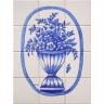ASK 1670 flowers vase tiles panel