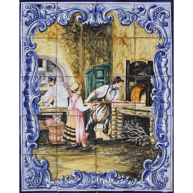 Azulejos portugues panels murals traditional colors for Arts and crafts mural