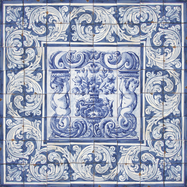 Portuguese traditional clay tiles azulejos mural panel for Clay tile mural