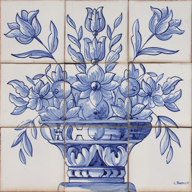 Portuguese traditional clay azulejo tiles panel mural for Decorative tile mural