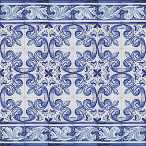 1901 Portuguese Bicesse Tiles from Portugal - Traditional decorative hand painted ceramic azulejo