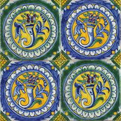2410 Portuguese handmade majolica tile