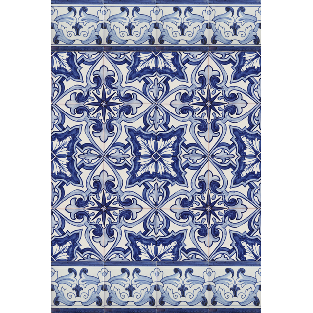 2703 Portuguese Bicesse Tiles from Portugal - Traditional decorative hand painted ceramic azulejo