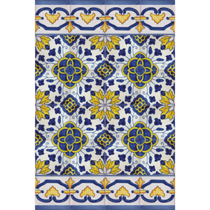 Portuguese Bicesse Tiles - Traditional decorative hand painted azulejo