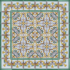 2419 Portuguese Bicesse Tiles from Portugal - Traditional decorative hand painted ceramic azulejo