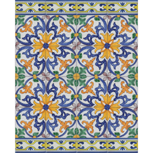 2523 Portuguese Bicesse Tiles from Portugal - Traditional decorative hand painted ceramic azulejo