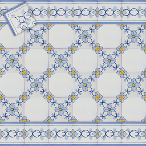 2602 Portuguese Bicesse Tiles from Portugal - Traditional decorative hand painted ceramic azulejo