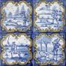 ASK 3927 Portuguese tile hunting scenes