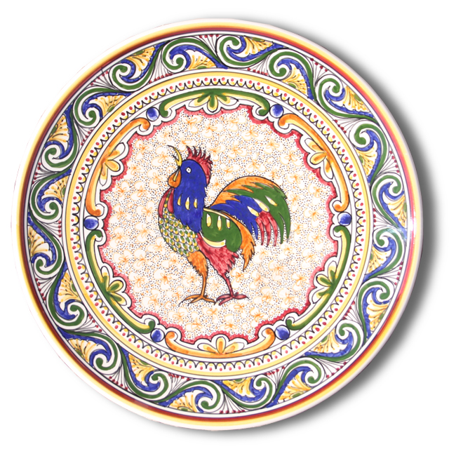 7301 Portuguese Plate Tiles Antique Majolica Designs TRADITIONAL ROOSTER