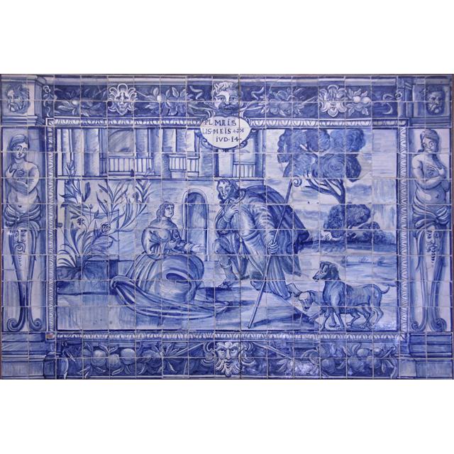 Original Antique XVII Portuguese Tiles Panel GROTESQUES