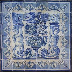 8012 Portuguese antique tiles mural XVII