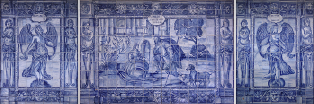 Original Antique XVII Portuguese Tiles Panel GROTESQUES