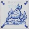 ATD014 XVII Century Antique Blue Drawings
