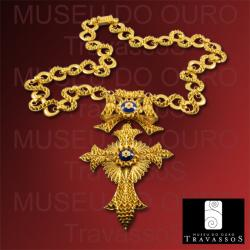 Portuguese 19.2K Gold Filigree Christian Cross Pendant Necklace Chain