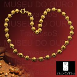 Portuguese 19.2k Filigree Gold Spheres Necklace 16.5""