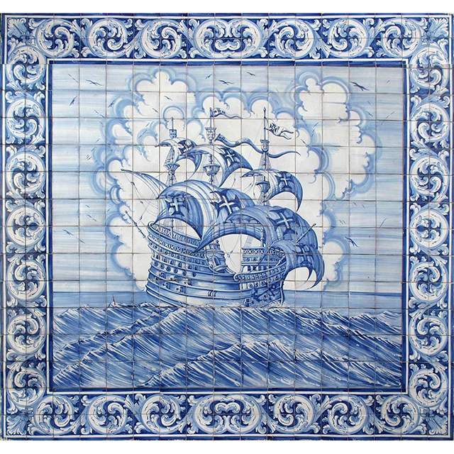 Portuguese hand painted azulejos tile mural panel ages of for Ceramic mural wall tiles