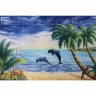 PA002 Airbrushed Sea Dolphins fish Tiles Panel