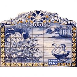 PA0101 Lake Swan Landscape Cutout Tiles Mural