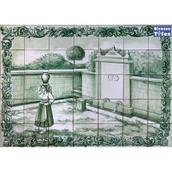 PA0102 Traditional Water Fountain Cutout Tiles Mural