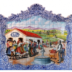 PA0104 Traditional Portuguese Dancers Cutout Tiles Mural