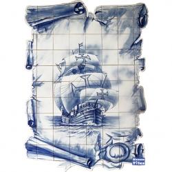 PA073 Caravel Vessel Boat Cutout Tiles Mural