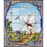 PA095 Windmill Landscape Tiles Mural