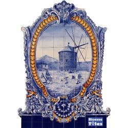 PA0126 Windmill Baroque Frame Cutout Tiles Mural