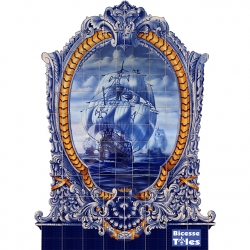 PA0127 Caravel Vessel Baroque Frame Cutout Tiles Mural