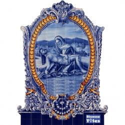 PA0129 Christ Baroque Frame Cutout Tiles Mural