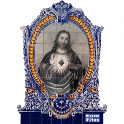 PA0130 Christ Baroque Frame Cutout Tiles Mural