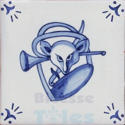 RDC005 Blue White Riding Horses