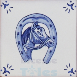 RDC009 Blue White Riding Horses