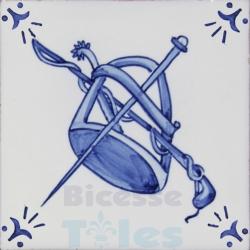 RDC010 Blue White Riding Horses