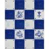 TC221 XVII Century Antique Blue Drawings