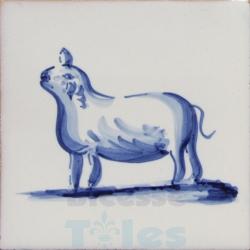 ZOO015 Blue White Zoo Animals